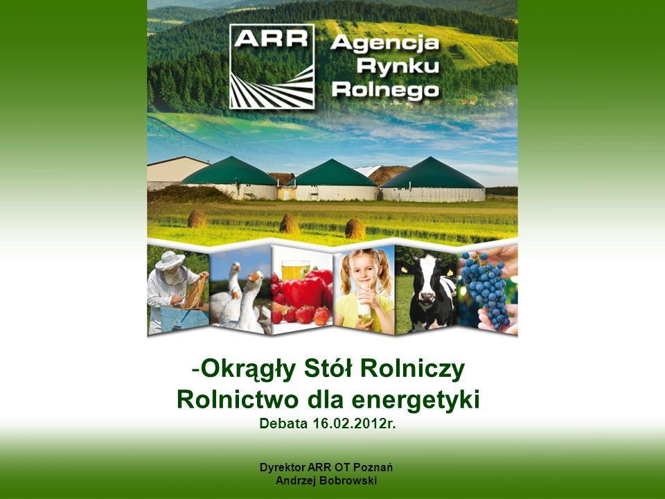 -Okrągły Stół Rolniczy Rolnictwo dla energetyki Debata 16.02.2012r. Dyrektor ARR OT Poznań Andrzej Bobrowski