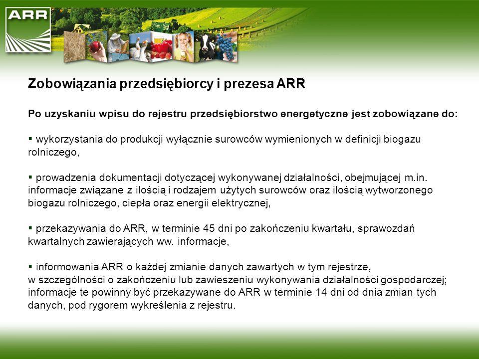 Zobowiązania przedsiębiorcy i prezesa ARR Po uzyskaniu wpisu do rejestru przedsiębiorstwo energetyczne jest zobowiązane do: wykorzystania do produkcji