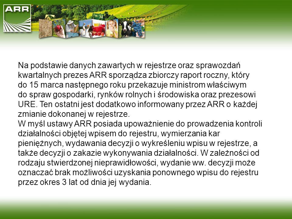 Na podstawie danych zawartych w rejestrze oraz sprawozdań kwartalnych prezes ARR sporządza zbiorczy raport roczny, który do 15 marca następnego roku p