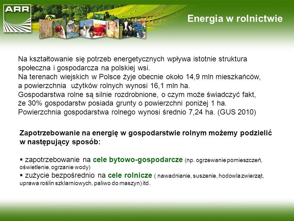 Energia w rolnictwie Na kształtowanie się potrzeb energetycznych wpływa istotnie struktura społeczna i gospodarcza na polskiej wsi. Na terenach wiejsk
