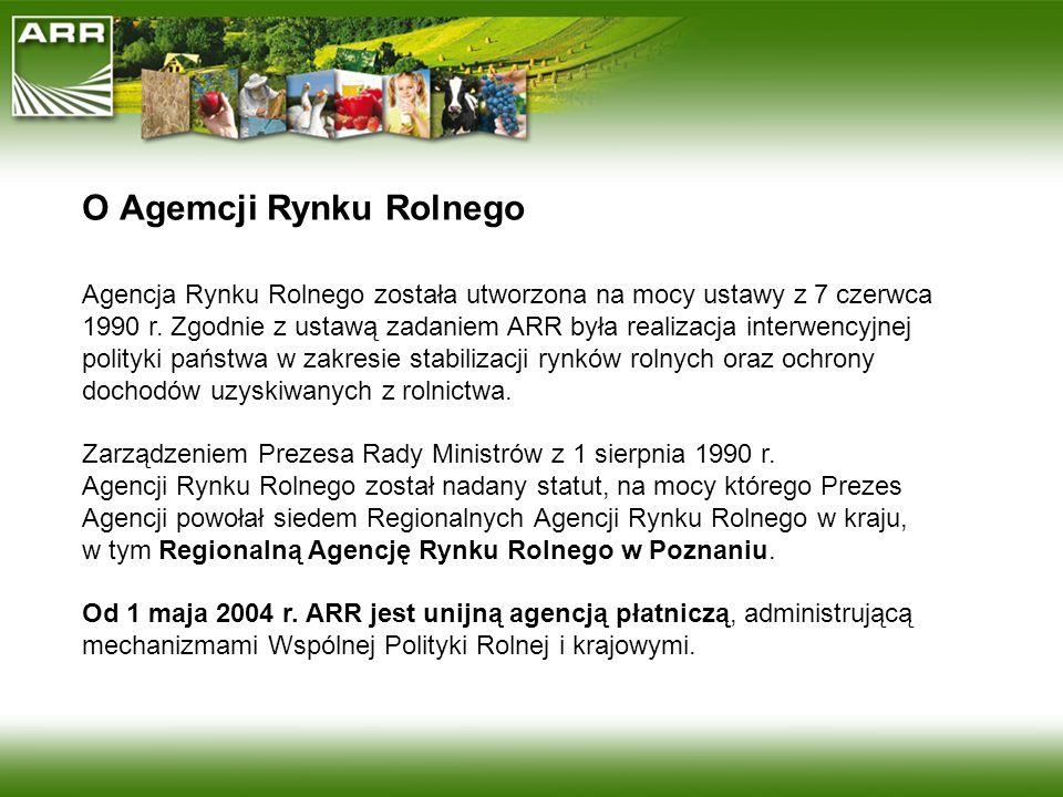 O Agemcji Rynku Rolnego Agencja Rynku Rolnego została utworzona na mocy ustawy z 7 czerwca 1990 r. Zgodnie z ustawą zadaniem ARR była realizacja inter