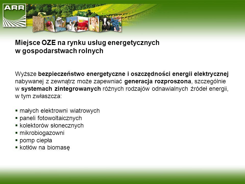 Miejsce OZE na rynku usług energetycznych w gospodarstwach rolnych Wyższe bezpieczeństwo energetyczne i oszczędności energii elektrycznej nabywanej z