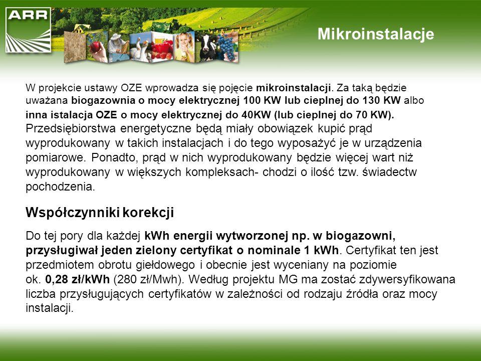 Mikroinstalacje W projekcie ustawy OZE wprowadza się pojęcie mikroinstalacji. Za taką będzie uważana biogazownia o mocy elektrycznej 100 KW lub ciepln