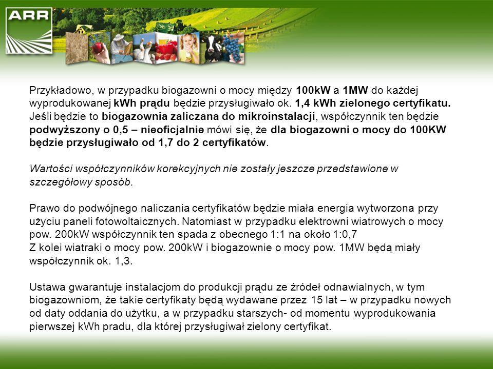 Przykładowo, w przypadku biogazowni o mocy między 100kW a 1MW do każdej wyprodukowanej kWh prądu będzie przysługiwało ok. 1,4 kWh zielonego certyfikat