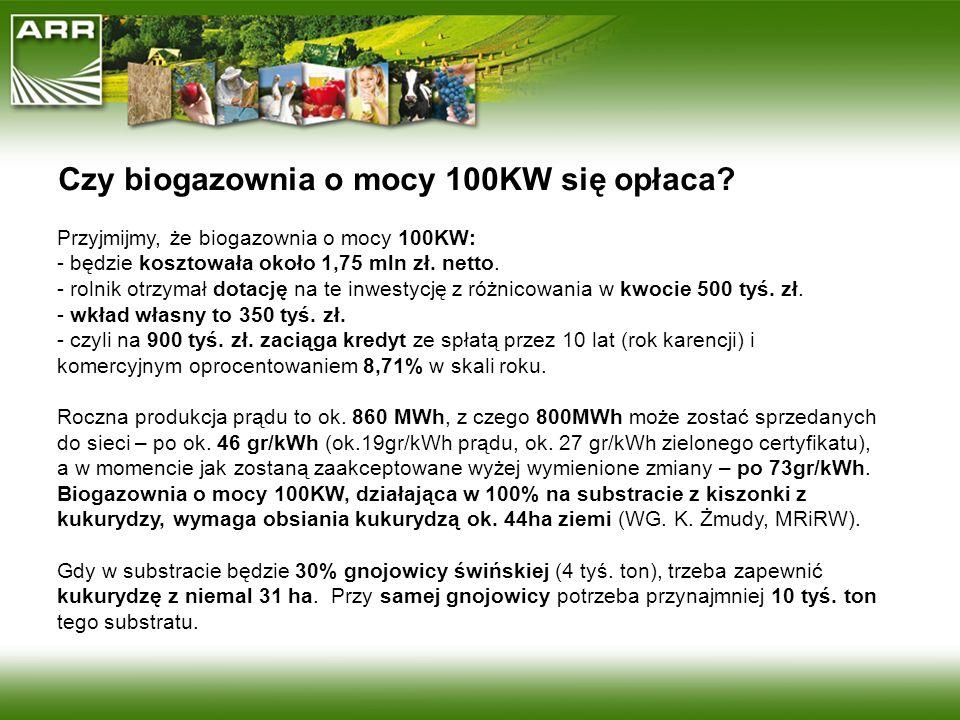 Czy biogazownia o mocy 100KW się opłaca? Przyjmijmy, że biogazownia o mocy 100KW: - będzie kosztowała około 1,75 mln zł. netto. - rolnik otrzymał dota