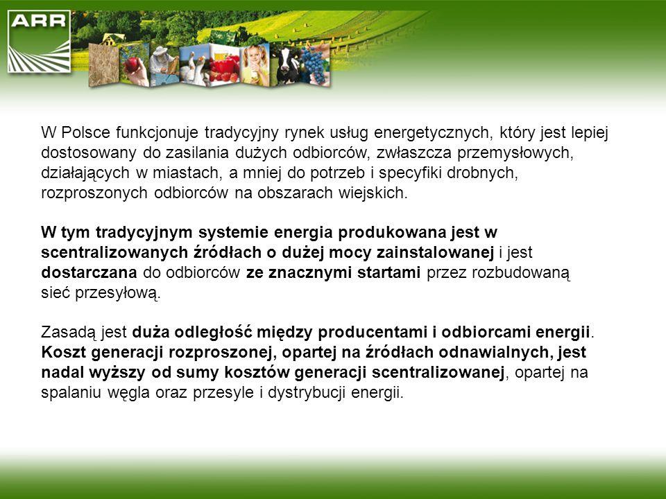 W Polsce funkcjonuje tradycyjny rynek usług energetycznych, który jest lepiej dostosowany do zasilania dużych odbiorców, zwłaszcza przemysłowych, dzia