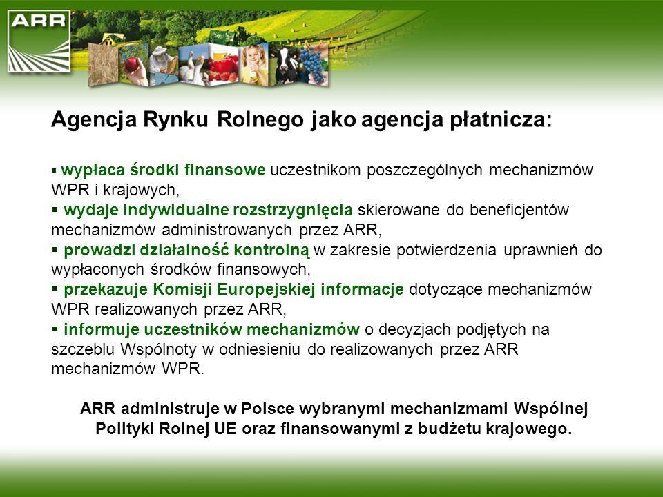 Agencja Rynku Rolnego jako agencja płatnicza: wypłaca środki finansowe uczestnikom poszczególnych mechanizmów WPR i krajowych, wydaje indywidualne roz