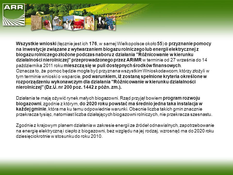 Wszystkie wnioski (łącznie jest ich 176, w samej Wielkopolsce około 55) o przyznanie pomocy na inwestycje związane z wytwarzaniem biogazu rolniczego l
