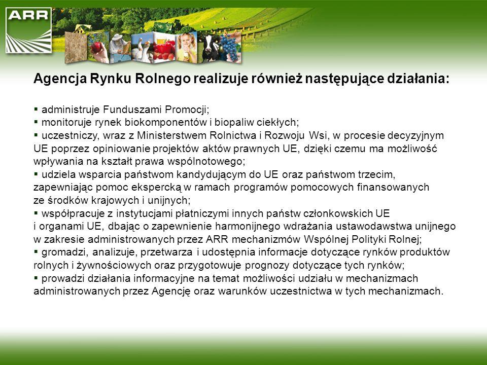Agencja Rynku Rolnego realizuje również następujące działania: administruje Funduszami Promocji; monitoruje rynek biokomponentów i biopaliw ciekłych;