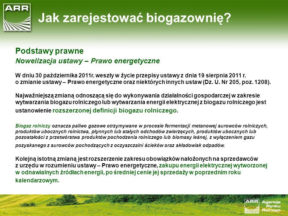 Podstawy prawne Nowelizacja ustawy - Prawo energetyczne Ponadto, ustawodawca wprowadził zwolnienie z ponoszenia opłat skarbowych za czynności urzędowe związane z prowadzeniem przez Prezesa Agencji Rynku Rolnego rejestru przedsiębiorstw energetycznych zajmujących się wytwarzaniem biogazu rolniczego dokonywanych na wniosek przedsiębiorstw energetycznych zajmujących się wytwarzaniem energii elektrycznej w odnawialnych źródłach energii o łącznej mocy elektrycznej nieprzekraczającej 5 MW oraz przedsiębiorstw zajmujących się wytwarzaniem biogazu rolniczego i wprowadzaniem go do sieci dystrybucyjnej gazowej.