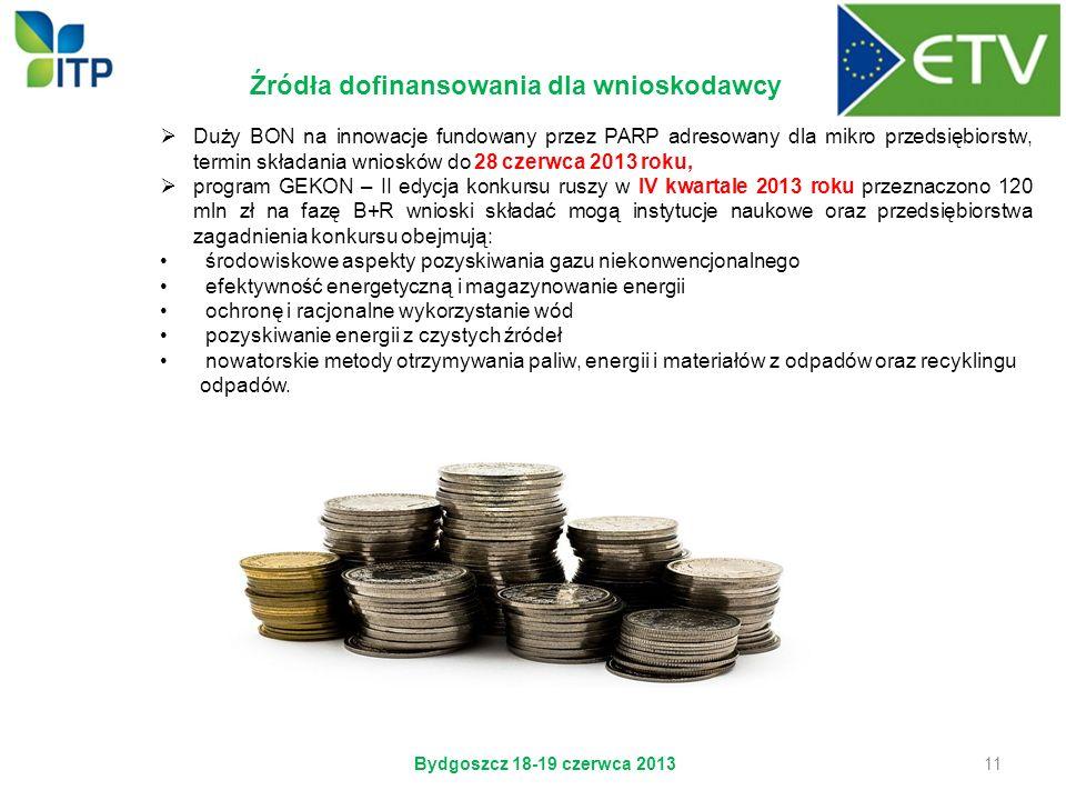 Źródła dofinansowania dla wnioskodawcy Bydgoszcz 18-19 czerwca 2013 11 Duży BON na innowacje fundowany przez PARP adresowany dla mikro przedsiębiorstw