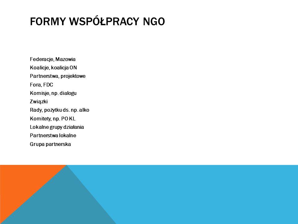 FORMY WSPÓŁPRACY NGO Federacje, Mazowia Koalicje, koalicja ON Partnerstwa, projektowe Fora, FDC Komisje, np. dialogu Związki Rady, pożytku ds. np. alk
