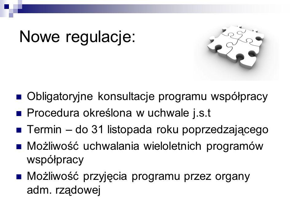 Nowe regulacje: Obligatoryjne konsultacje programu współpracy Procedura określona w uchwale j.s.t Termin – do 31 listopada roku poprzedzającego Możliwość uchwalania wieloletnich programów współpracy Możliwość przyjęcia programu przez organy adm.