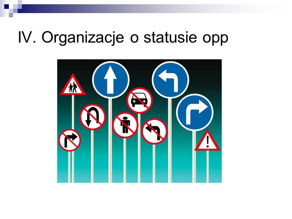 IV. Organizacje o statusie opp