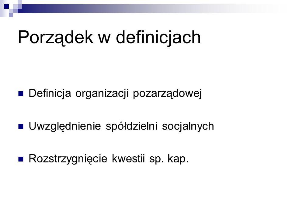 Porządek w definicjach Definicja organizacji pozarządowej Uwzględnienie spółdzielni socjalnych Rozstrzygnięcie kwestii sp.