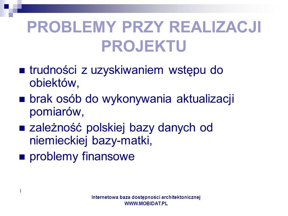 I Internetowa baza dostępności architektonicznej WWW.MOBIDAT.PL PROBLEMY PRZY REALIZACJI PROJEKTU trudności z uzyskiwaniem wstępu do obiektów, brak osób do wykonywania aktualizacji pomiarów, zależność polskiej bazy danych od niemieckiej bazy-matki, problemy finansowe
