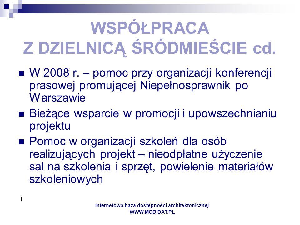 I Internetowa baza dostępności architektonicznej WWW.MOBIDAT.PL WSPÓŁPRACA Z DZIELNICĄ ŚRÓDMIEŚCIE cd. W 2008 r. – pomoc przy organizacji konferencji