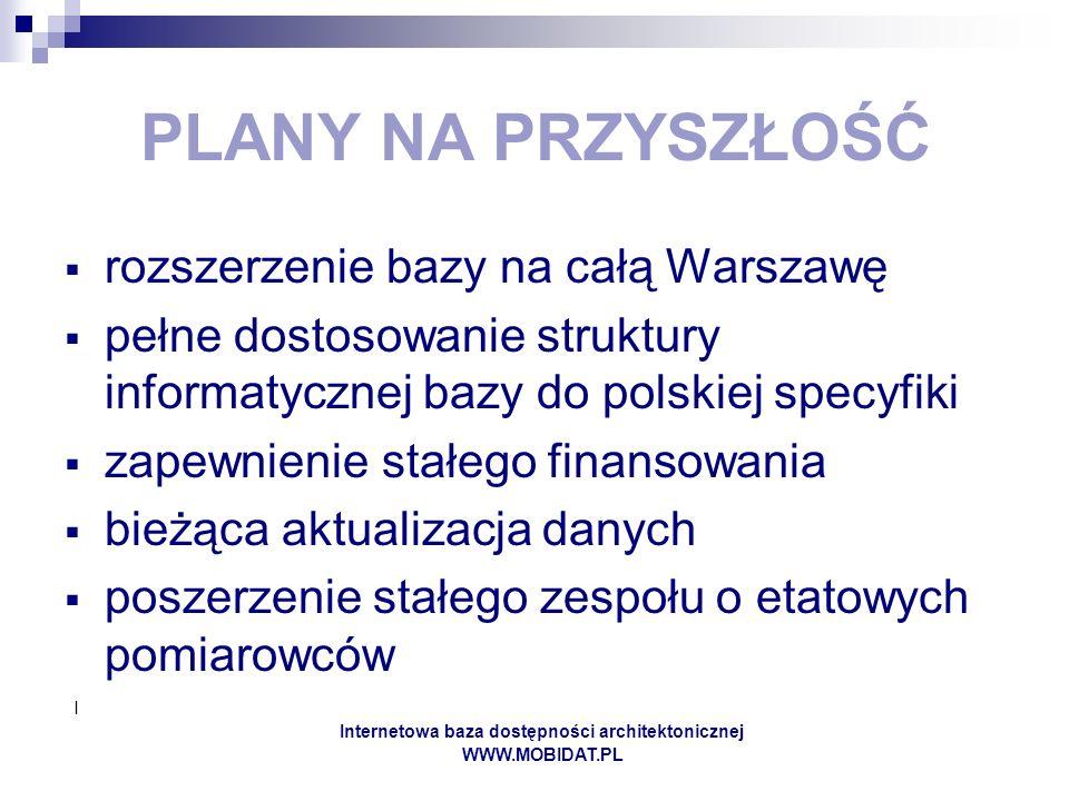 I Internetowa baza dostępności architektonicznej WWW.MOBIDAT.PL PLANY NA PRZYSZŁOŚĆ rozszerzenie bazy na całą Warszawę pełne dostosowanie struktury informatycznej bazy do polskiej specyfiki zapewnienie stałego finansowania bieżąca aktualizacja danych poszerzenie stałego zespołu o etatowych pomiarowców