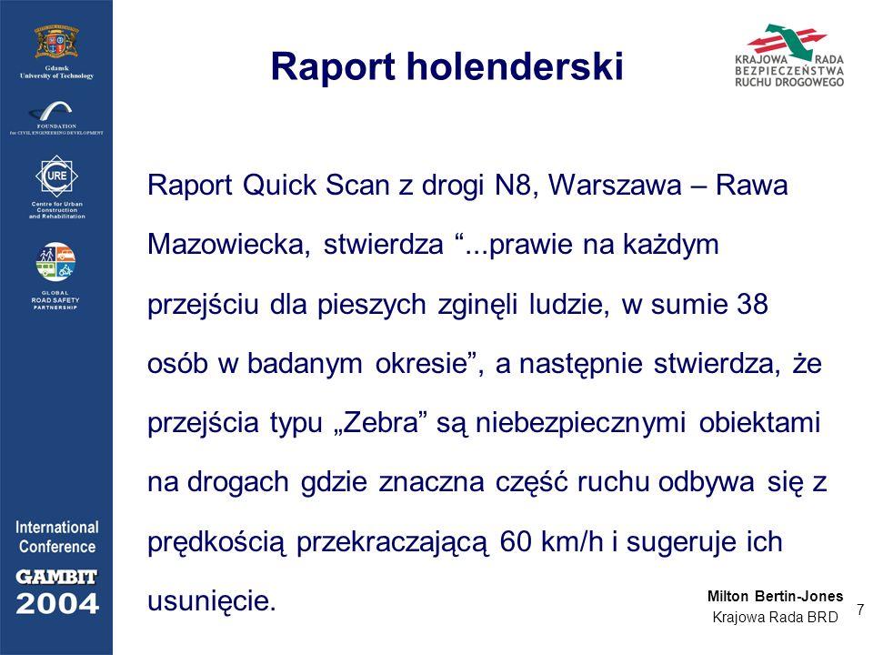 7 Raport Quick Scan z drogi N8, Warszawa – Rawa Mazowiecka, stwierdza...prawie na każdym przejściu dla pieszych zginęli ludzie, w sumie 38 osób w bada