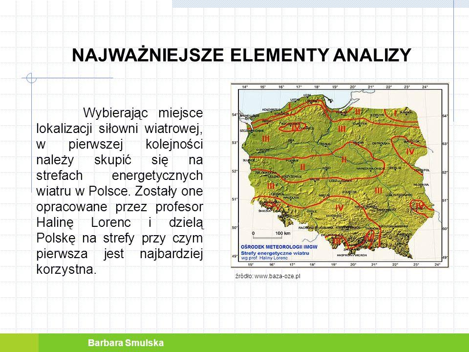 Barbara Smulska NAJWAŻNIEJSZE ELEMENTY ANALIZY Przed zainstalowaniem turbiny należy dokonać pomiaru prędkości wiatru nad danym obszarem.