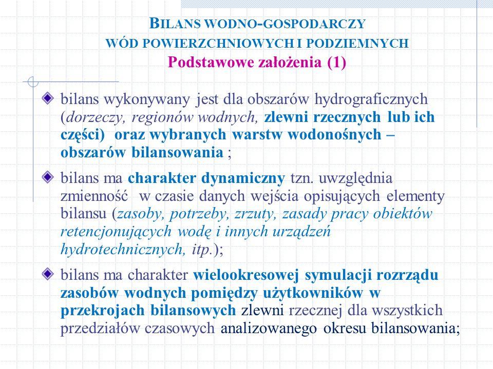 B ILANS WODNO - GOSPODARCZY WÓD POWIERZCHNIOWYCH I PODZIEMNYCH Podstawowe założenia (1) bilans wykonywany jest dla obszarów hydrograficznych (dorzeczy