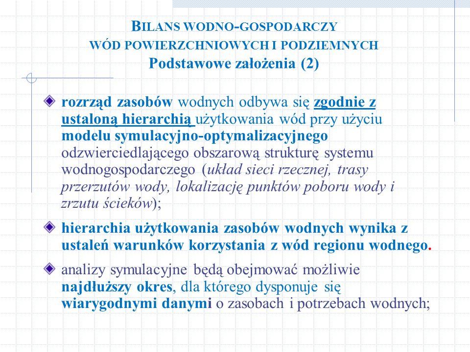 B ILANS WODNO - GOSPODARCZY WÓD POWIERZCHNIOWYCH I PODZIEMNYCH Podstawowe założenia (2) rozrząd zasobów wodnych odbywa się zgodnie z ustaloną hierarch