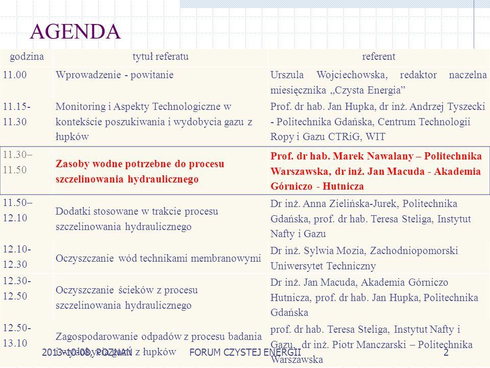 AGENDA godzinatytuł referatureferent 11.00Wprowadzenie - powitanie Urszula Wojciechowska, redaktor naczelna miesięcznika Czysta Energia 11.15- 11.30 M