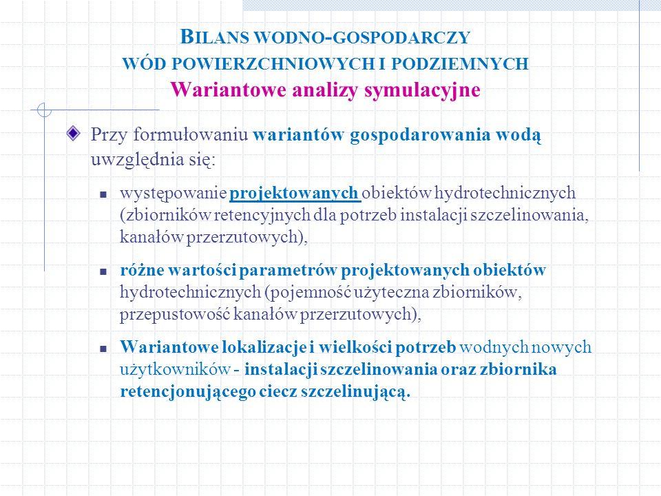 B ILANS WODNO - GOSPODARCZY WÓD POWIERZCHNIOWYCH I PODZIEMNYCH Wariantowe analizy symulacyjne Przy formułowaniu wariantów gospodarowania wodą uwzględn