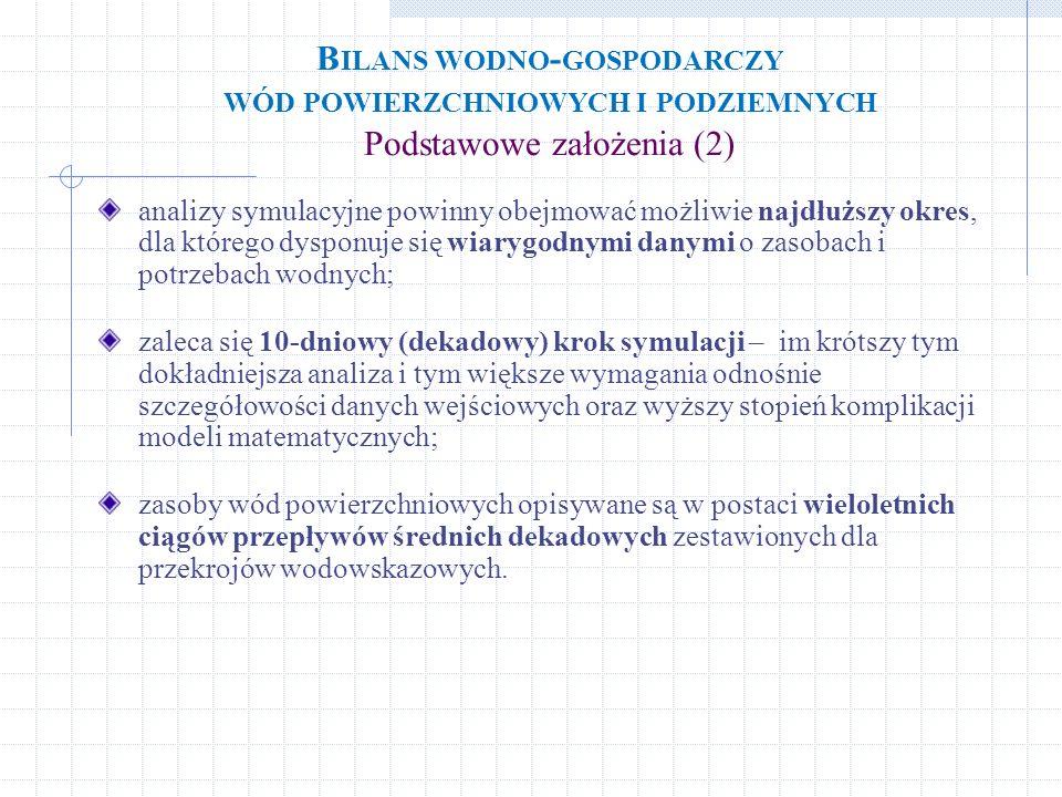 B ILANS WODNO - GOSPODARCZY WÓD POWIERZCHNIOWYCH I PODZIEMNYCH Podstawowe założenia (2) analizy symulacyjne powinny obejmować możliwie najdłuższy okre