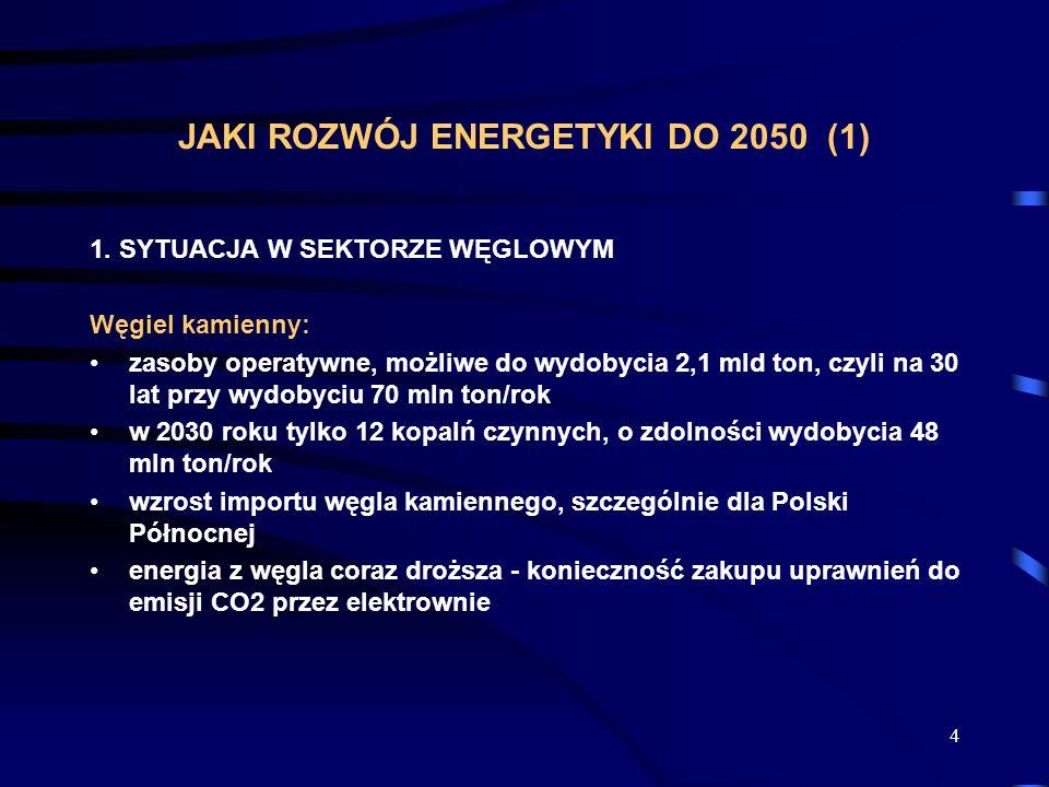 4 JAKI ROZWÓJ ENERGETYKI DO 2050 (1) 1. SYTUACJA W SEKTORZE WĘGLOWYM Węgiel kamienny: zasoby operatywne, możliwe do wydobycia 2,1 mld ton, czyli na 30