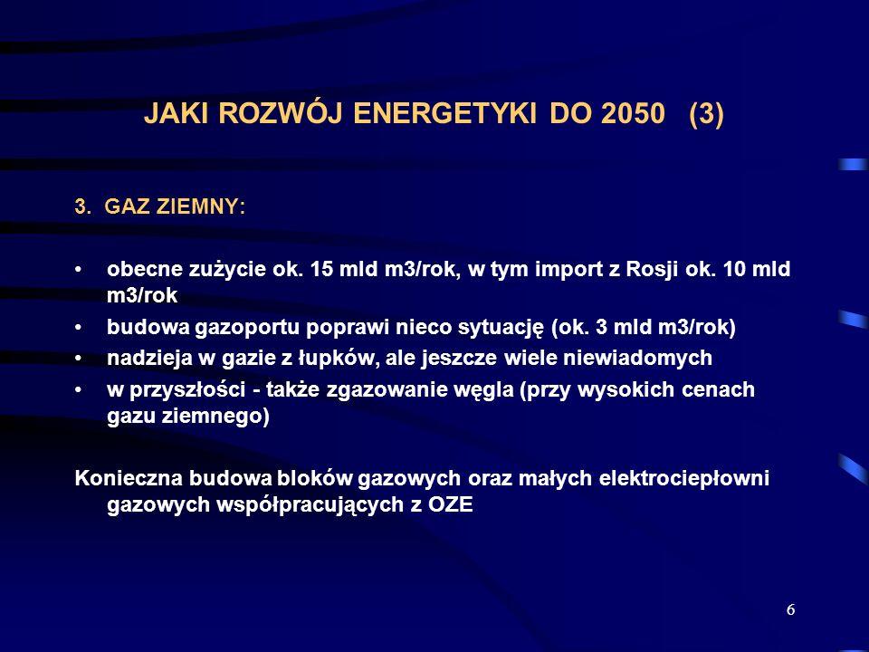 6 JAKI ROZWÓJ ENERGETYKI DO 2050 (3) 3. GAZ ZIEMNY: obecne zużycie ok. 15 mld m3/rok, w tym import z Rosji ok. 10 mld m3/rok budowa gazoportu poprawi