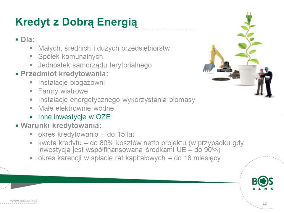 10 Kredyt z Dobrą Energią Dla: Małych, średnich i dużych przedsiębiorstw Spółek komunalnych Jednostek samorządu terytorialnego Przedmiot kredytowania: Instalacje biogazowni Farmy wiatrowe Instalacje energetycznego wykorzystania biomasy Małe elektrownie wodne Inne inwestycje w OZE Warunki kredytowania: okres kredytowania – do 15 lat kwota kredytu – do 80% kosztów netto projektu (w przypadku gdy inwestycja jest współfinansowana środkami UE – do 90%) okres karencji w spłacie rat kapitałowych – do 18 miesięcy