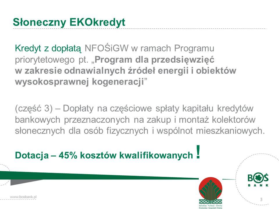 3 Kredyt z dopłatą NFOŚiGW w ramach Programu priorytetowego pt. Program dla przedsięwzięć w zakresie odnawialnych źródeł energii i obiektów wysokospra