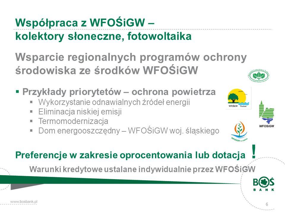 6 Wsparcie regionalnych programów ochrony środowiska ze środków WFOŚiGW Przykłady priorytetów – ochrona powietrza Wykorzystanie odnawialnych źródeł energii Eliminacja niskiej emisji Termomodernizacja Dom energooszczędny – WFOŚiGW woj.