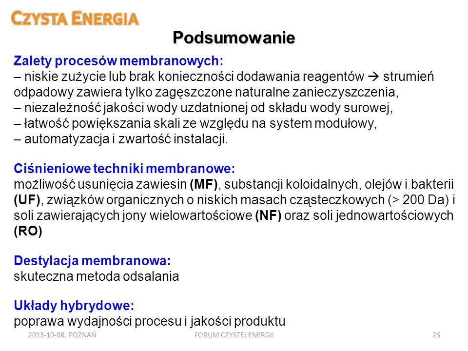 2013-10-08, POZNAŃFORUM CZYSTEJ ENERGII26 Podsumowanie Zalety procesów membranowych: – niskie zużycie lub brak konieczności dodawania reagentów strumi