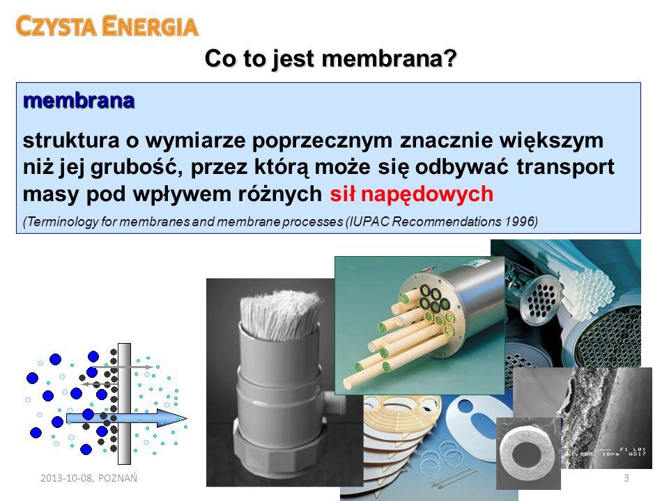 2013-10-08, POZNAŃFORUM CZYSTEJ ENERGII3 Co to jest membrana? membrana struktura o wymiarze poprzecznym znacznie większym niż jej grubość, przez którą