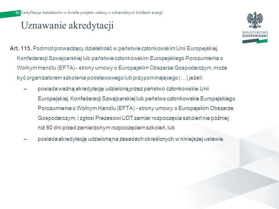 15 Uznawanie akredytacji Art. 115. Podmiot prowadzący działalność w państwie członkowskim Unii Europejskiej, Konfederacji Szwajcarskiej lub państwie c