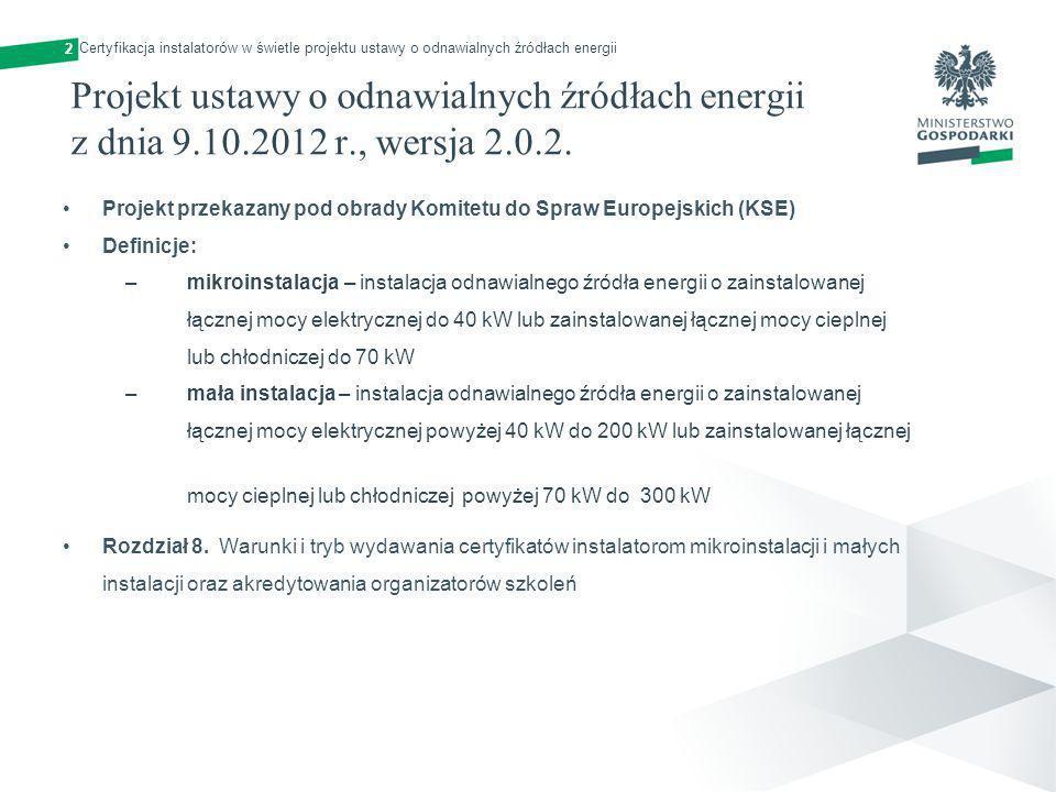Projekt ustawy o odnawialnych źródłach energii z dnia 9.10.2012 r., wersja 2.0.2. Projekt przekazany pod obrady Komitetu do Spraw Europejskich (KSE) D