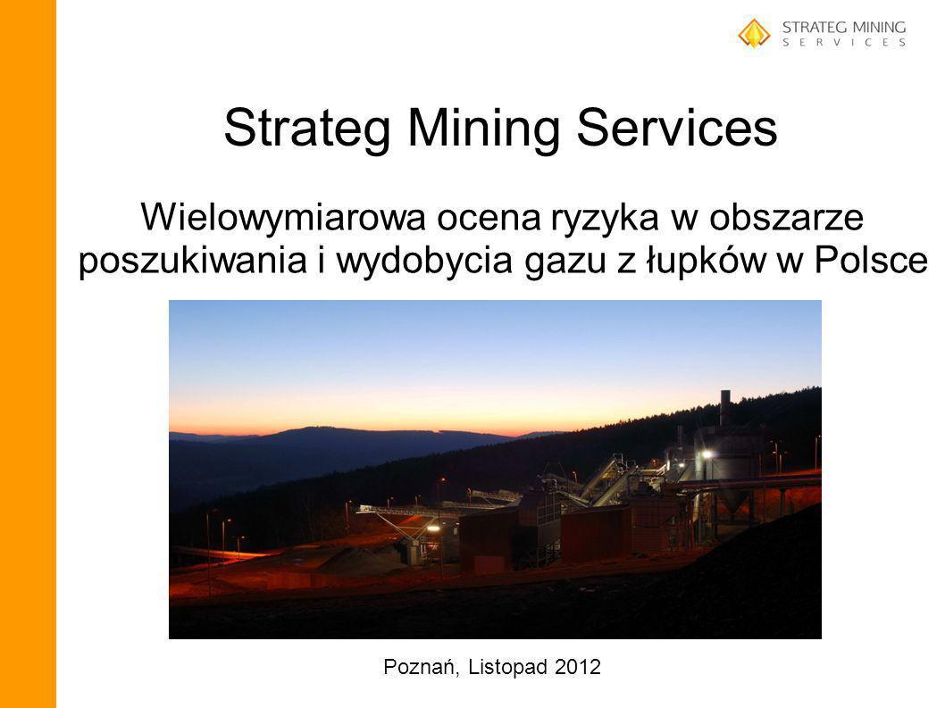 Strateg Mining Services Wielowymiarowa ocena ryzyka w obszarze poszukiwania i wydobycia gazu z łupków w Polsce Poznań, Listopad 2012