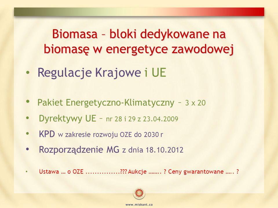 Biomasa – bloki dedykowane na biomasę w energetyce zawodowej Regulacje Krajowe i UE Pakiet Energetyczno-Klimatyczny – 3 x 20 Dyrektywy UE – nr 28 i 29
