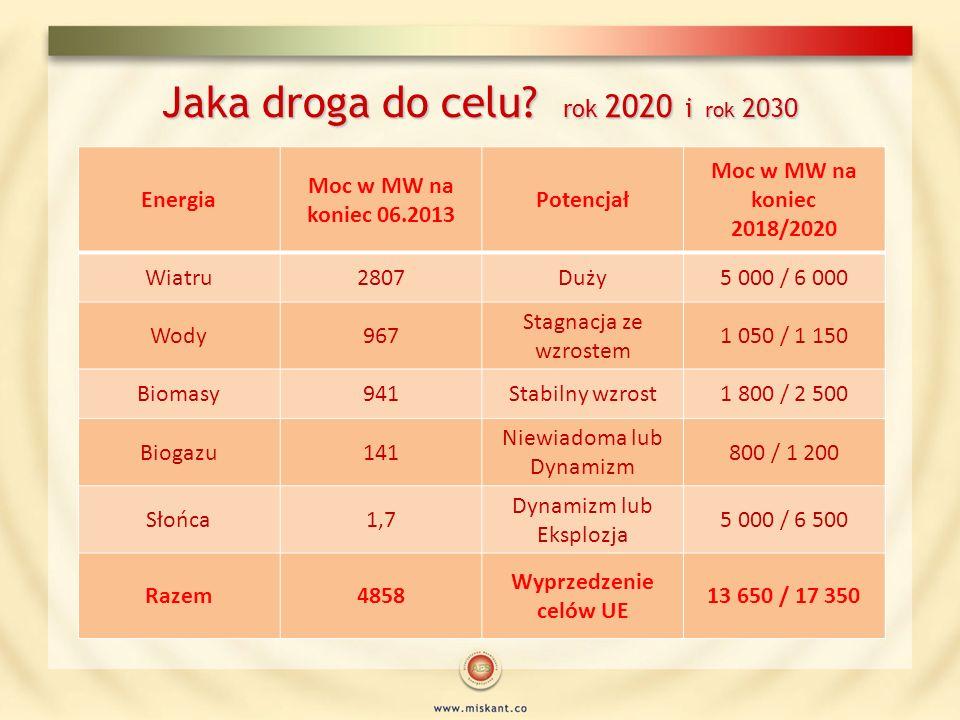 Jaka droga do celu? rok 2020 i rok 2030 Energia Moc w MW na koniec 06.2013 Potencjał Moc w MW na koniec 2018/2020 Wiatru2807Duży5 000 / 6 000 Wody967