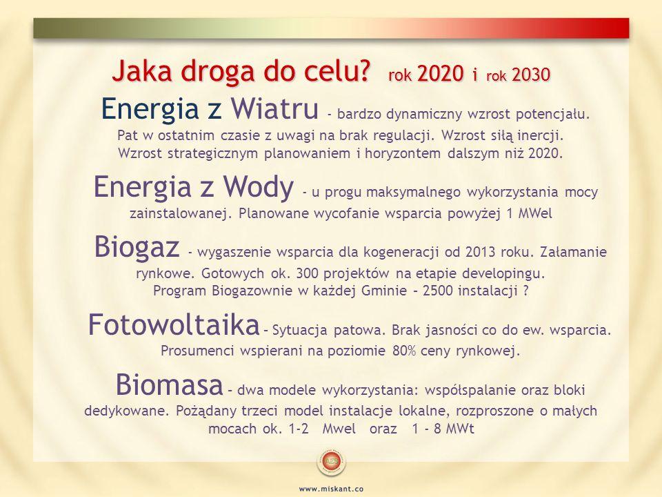 Jaka droga do celu? rok 2020 i rok 2030 Energia z Wiatru - bardzo dynamiczny wzrost potencjału. Pat w ostatnim czasie z uwagi na brak regulacji. Wzros