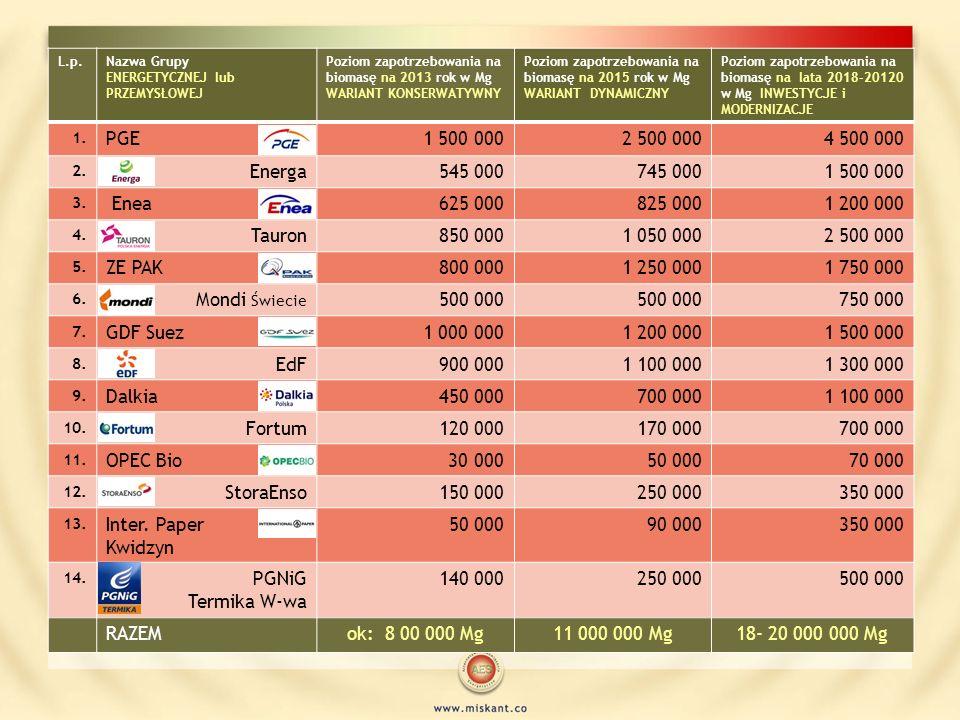 L.p.Nazwa Grupy ENERGETYCZNEJ lub PRZEMYSŁOWEJ Poziom zapotrzebowania na biomasę na 2013 rok w Mg WARIANT KONSERWATYWNY Poziom zapotrzebowania na biom