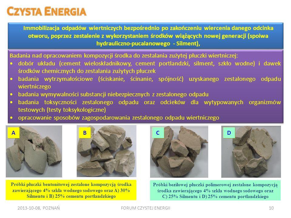2013-10-08, POZNAŃFORUM CZYSTEJ ENERGII10 Immobilizacja odpadów wiertniczych bezpośrednio po zakończeniu wiercenia danego odcinka otworu, poprzez zest