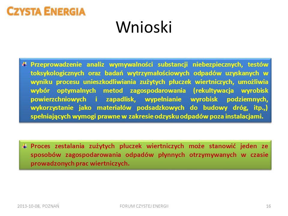 Wnioski 2013-10-08, POZNAŃFORUM CZYSTEJ ENERGII16 Przeprowadzenie analiz wymywalności substancji niebezpiecznych, testów toksykologicznych oraz badań