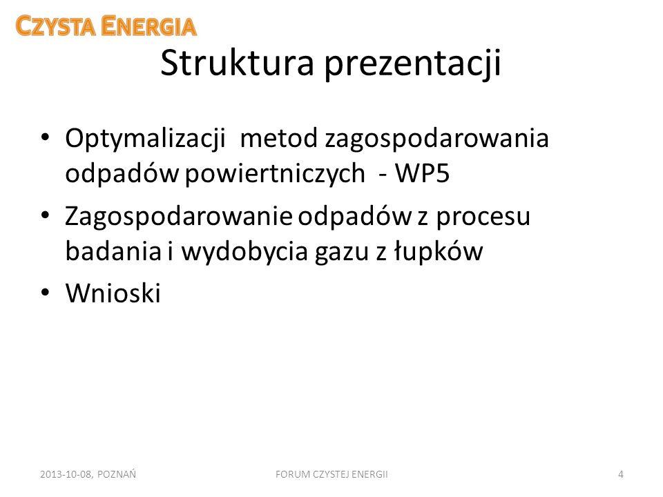 Struktura prezentacji Optymalizacji metod zagospodarowania odpadów powiertniczych - WP5 Zagospodarowanie odpadów z procesu badania i wydobycia gazu z
