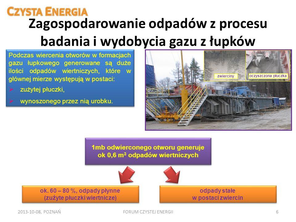 Zagospodarowanie odpadów z procesu badania i wydobycia gazu z łupków 2013-10-08, POZNAŃFORUM CZYSTEJ ENERGII6 Podczas wiercenia otworów w formacjach g