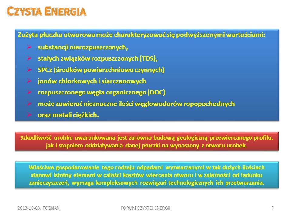 2013-10-08, POZNAŃFORUM CZYSTEJ ENERGII7 Zużyta płuczka otworowa może charakteryzować się podwyższonymi wartościami: substancji nierozpuszczonych, sta