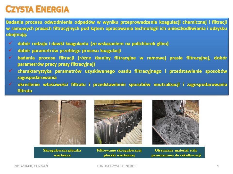 2013-10-08, POZNAŃFORUM CZYSTEJ ENERGII9 Badania procesu odwodnienia odpadów w wyniku przeprowadzenia koagulacji chemicznej i filtracji w ramowych pra
