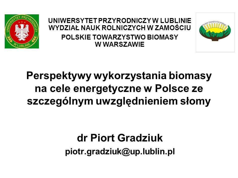 Perspektywy wykorzystania biomasy na cele energetyczne w Polsce ze szczególnym uwzględnieniem słomy dr Piort Gradziuk piotr.gradziuk@up.lublin.pl UNIW